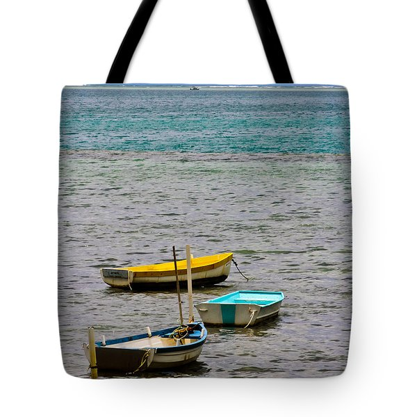 Tote Bag featuring the photograph 3 Boats by Mitch Shindelbower