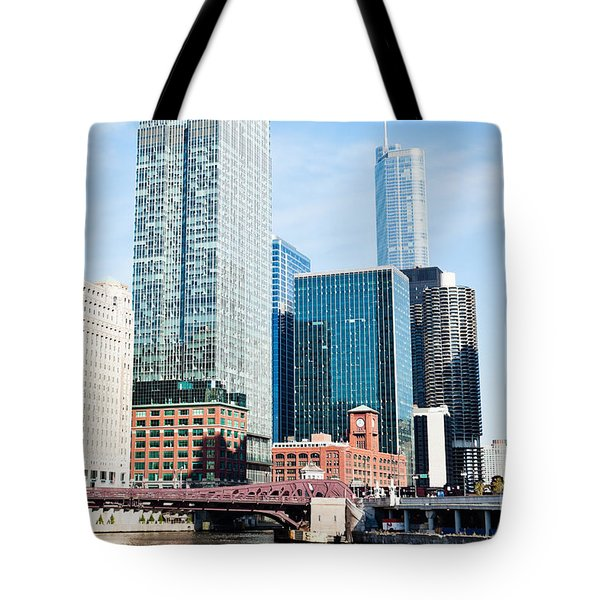 Chicago River Skyline Tote Bag by Paul Velgos