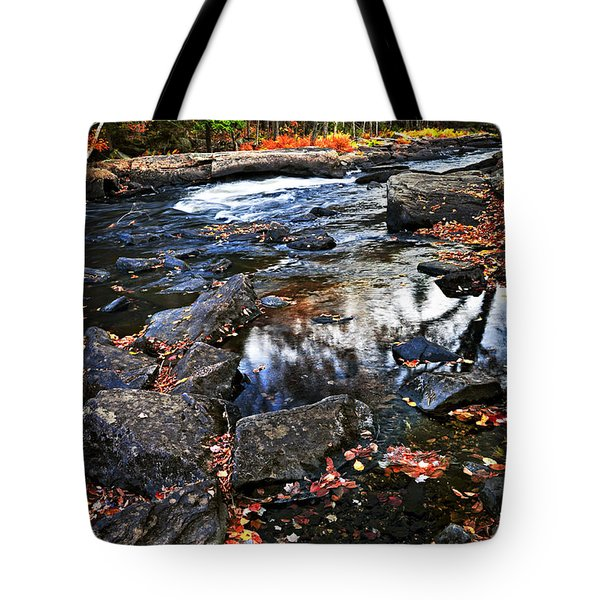 Fall Forest And River Landscape Tote Bag by Elena Elisseeva