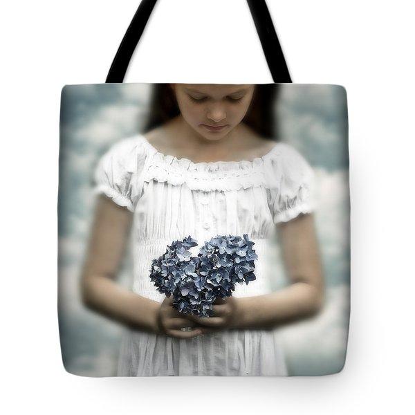 Girl With Hydrangea Tote Bag by Joana Kruse