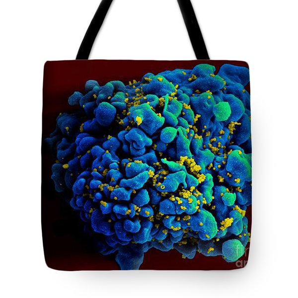 Hiv-infected H9 T Cell, Sem Tote Bag by Science Source