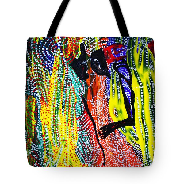 Tote Bag featuring the painting Jesus And Mary by Gloria Ssali