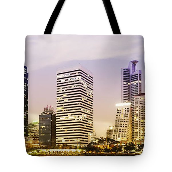 Night Scenes Of City Tote Bag by Setsiri Silapasuwanchai