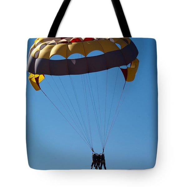 3 People Para-sailing Pachmarhi Tote Bag by Ashish Agarwal