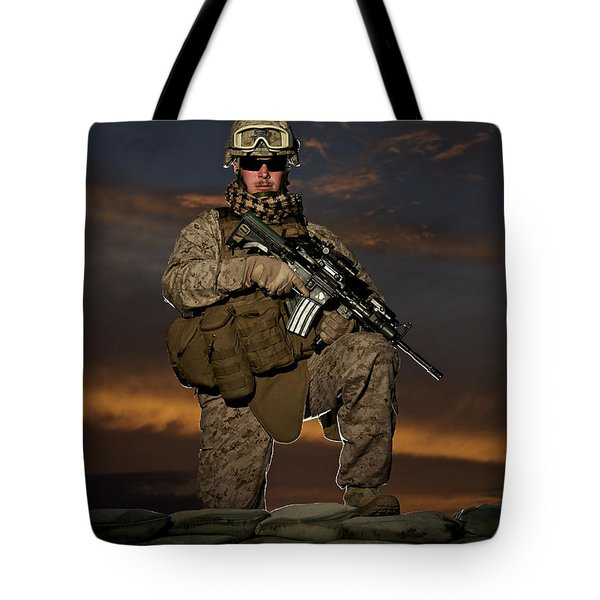 Portrait Of A U.s. Marine In Uniform Tote Bag by Terry Moore