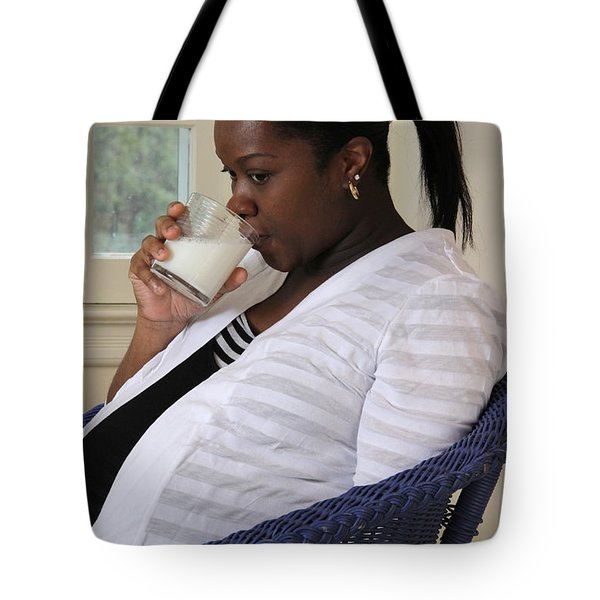 Pregnant Woman Drinking Milk Tote Bag by Photo Researchers