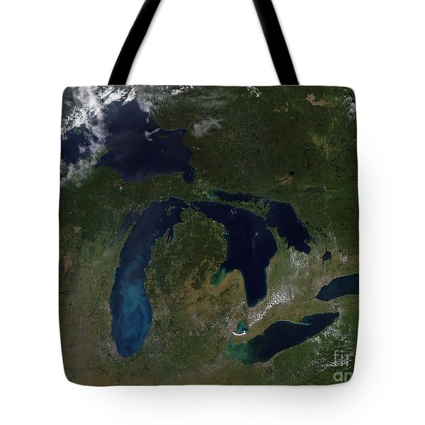 Satellite View Of The Great Lakes Tote Bag by Stocktrek Images