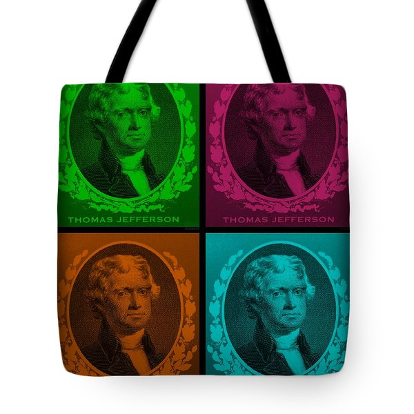 Thomas Jefferson In Quad Colors Tote Bag by Rob Hans