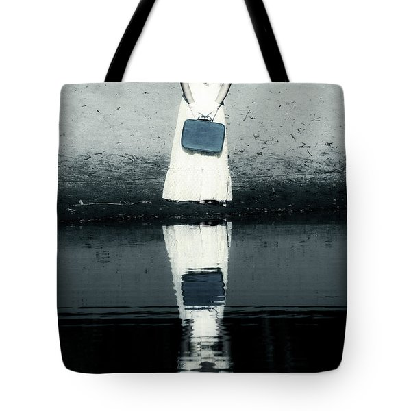 Woman With Suitcase Tote Bag by Joana Kruse