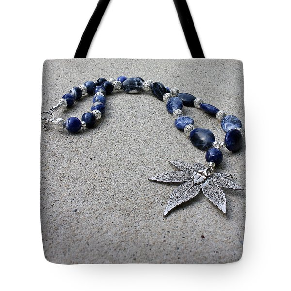 3593 Sodalite And Silver Necklace With Japanese Maple Leaf Pendant  Tote Bag by Teresa Mucha
