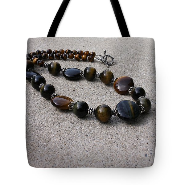 3595 Tigereye And Bali Sterling Silver Necklace Tote Bag by Teresa Mucha