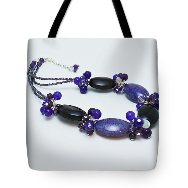3598 Purple Cracked Agate Necklace Tote Bag by Teresa Mucha