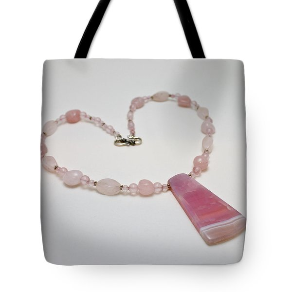 3604 Rose Quartz And Agate Pendant Necklace Tote Bag by Teresa Mucha