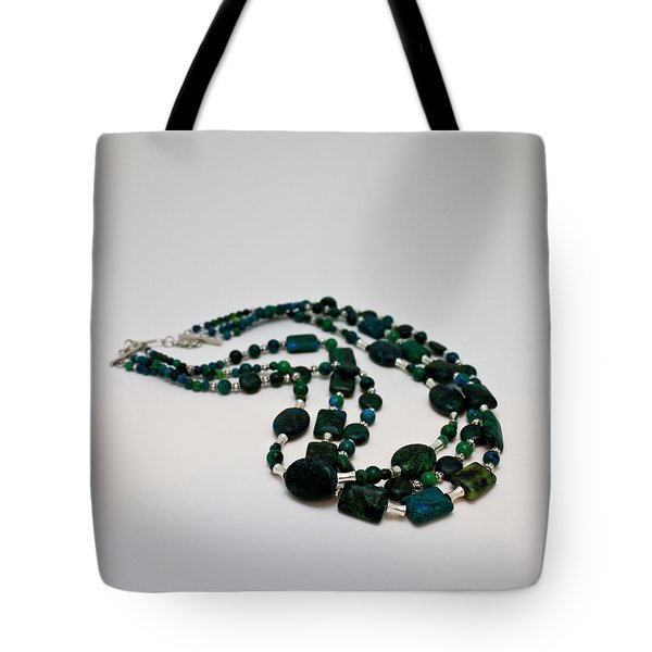 3609 Australian Jasper Triple Strand Necklace Tote Bag by Teresa Mucha