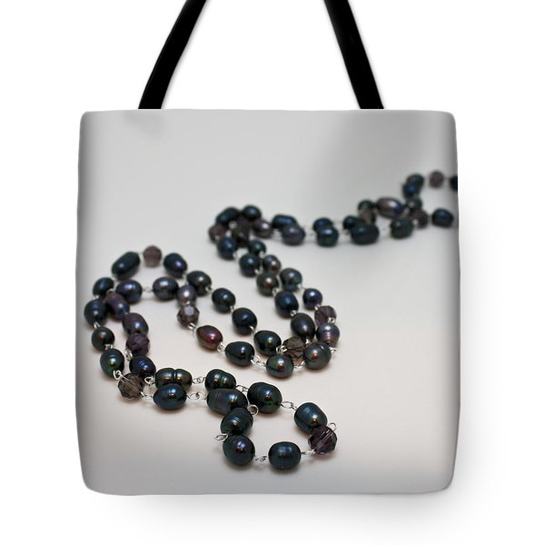 3613 Peacock Freshwater Pearl Rope Length Necklace  Tote Bag