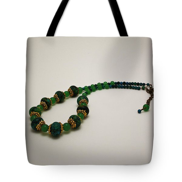 3616 Austrailian Jasper And Adventurine Necklace Tote Bag by Teresa Mucha