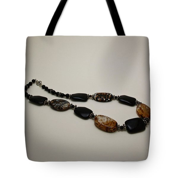 3617 Crackle Agate And Onyx Necklace Tote Bag by Teresa Mucha