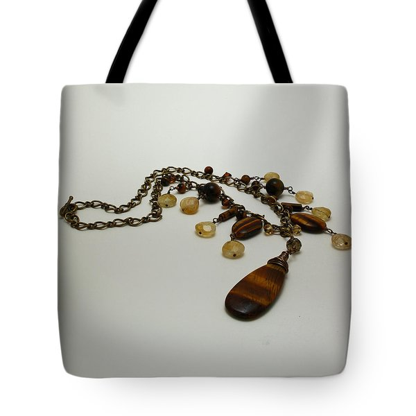 3618 Tigereye And Citrine Necklace Tote Bag by Teresa Mucha