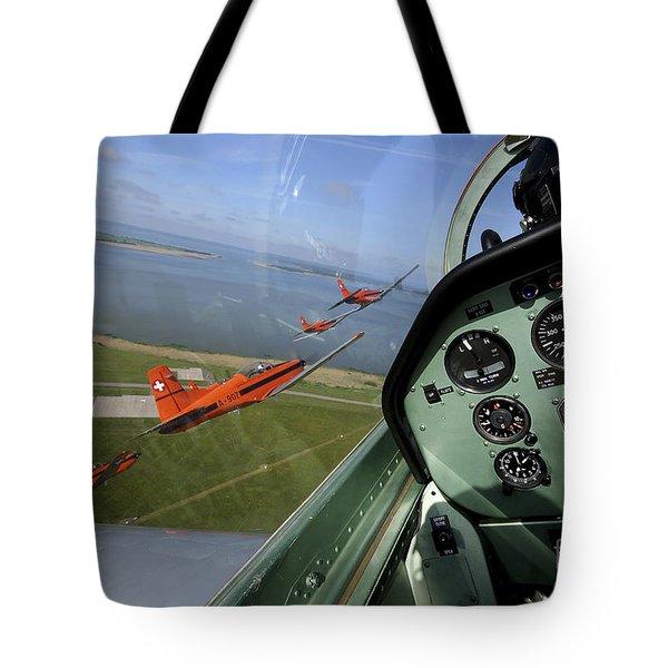 Inside The Pilatus Pc-7 Turboprop Tote Bag by Daniel Karlsson
