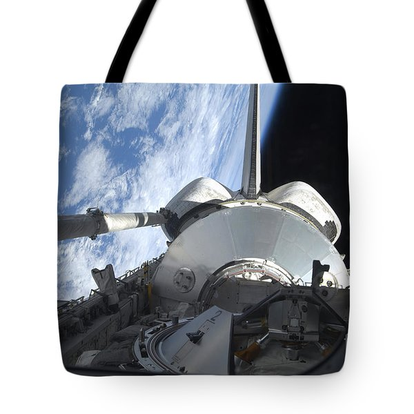 Space Shuttle Discovery Backdropped Tote Bag by Stocktrek Images