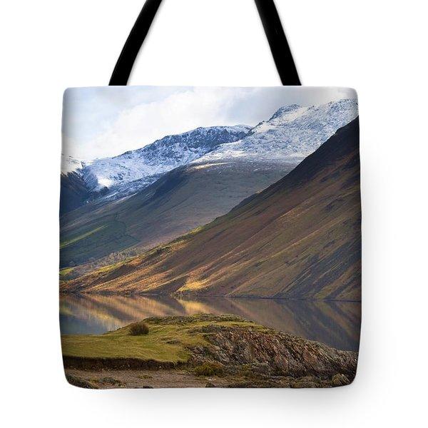 Mountains And Lake, Lake District Tote Bag by John Short