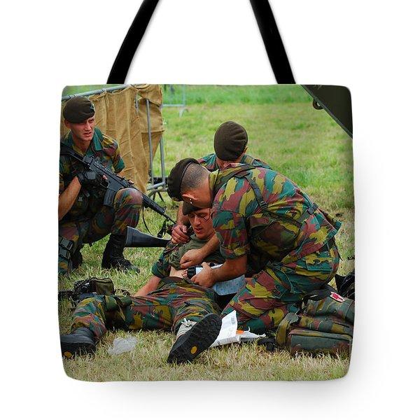 Soldiers Of A Belgian Infantry Unit Tote Bag by Luc De Jaeger