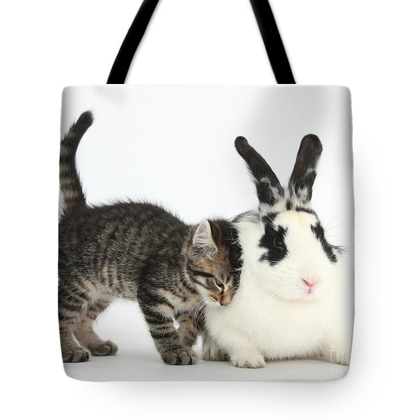 Kitten And Rabbit Tote Bag by Mark Taylor