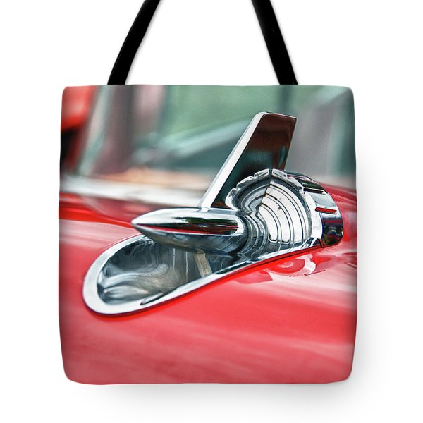 57 Chevy Hood Ornament 8509 Tote Bag by Guy Whiteley