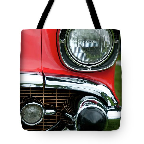 57 Chevy Left Front 8560 Tote Bag by Guy Whiteley