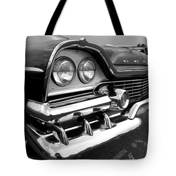 58 Plymouth Fury Black And White Tote Bag