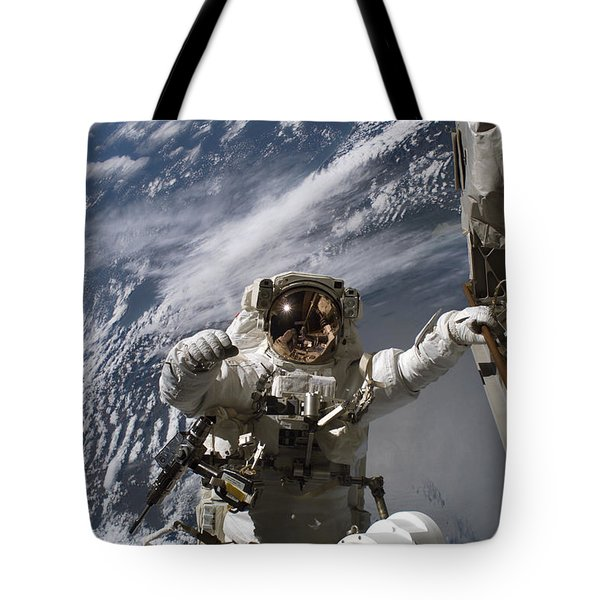 Astronaut Participates Tote Bag by Stocktrek Images