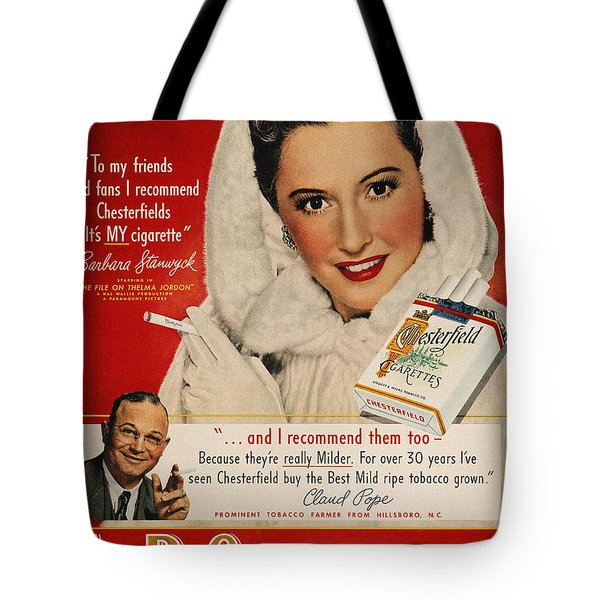 Chesterfield Cigarette Ad Tote Bag by Granger