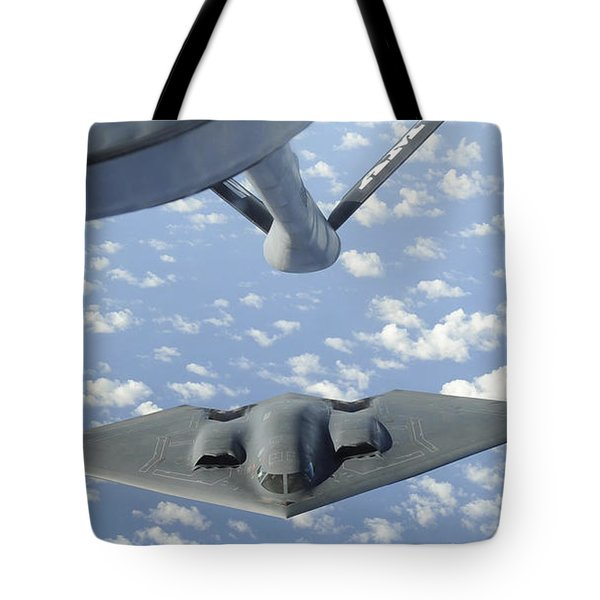 A B-2 Spirit Approaches The Refueling Tote Bag by Stocktrek Images