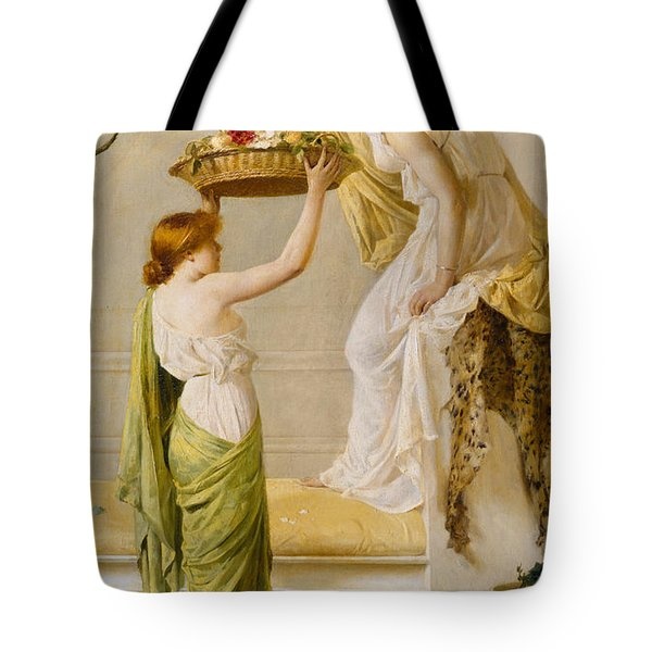 A Basket Of Roses - Grecian Girls Tote Bag by Henry Thomas Schaefer