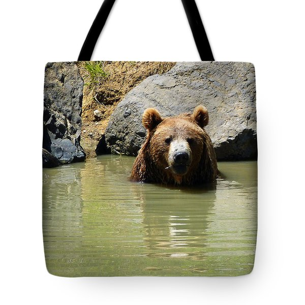 A Bear's Hot Tub Tote Bag by Methune Hively