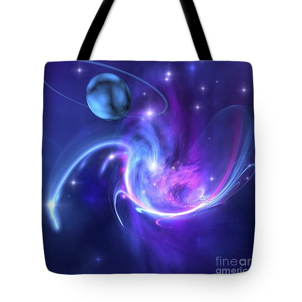 A Beautiful Nebula And A Ringed Planet Tote Bag