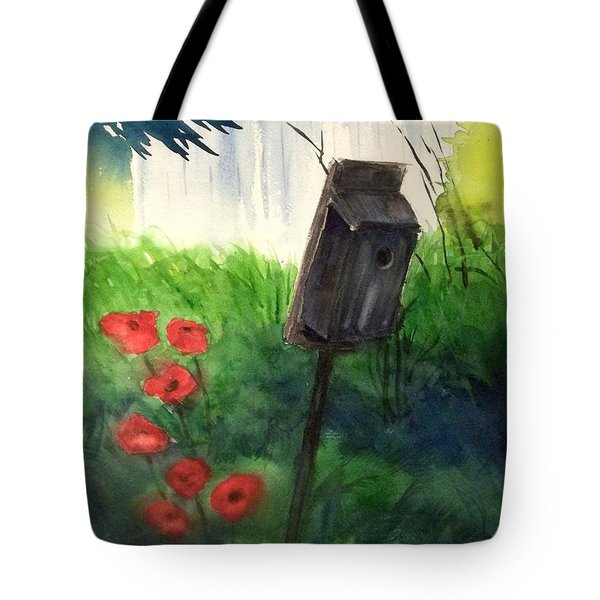 Tote Bag featuring the painting A Bird House In The Geddes Farm --ann Arbor Michigan by Yoshiko Mishina