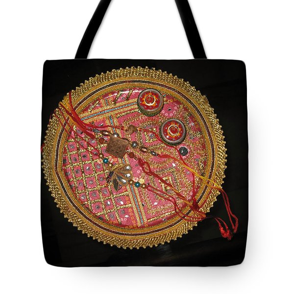 Tote Bag featuring the photograph A Bowl Of Rakhis In A Decorated Dish by Ashish Agarwal
