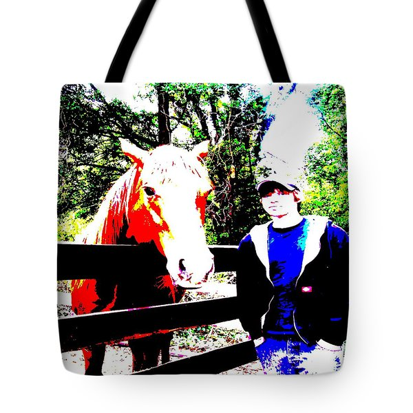 Tote Bag featuring the photograph a Boy and his Horse by George Pedro