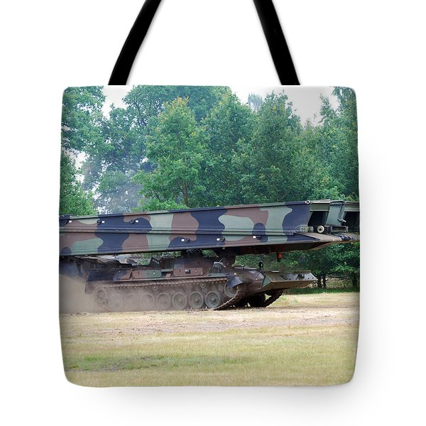 A Bridgelayer In Use By The Belgium Tote Bag by Luc De Jaeger