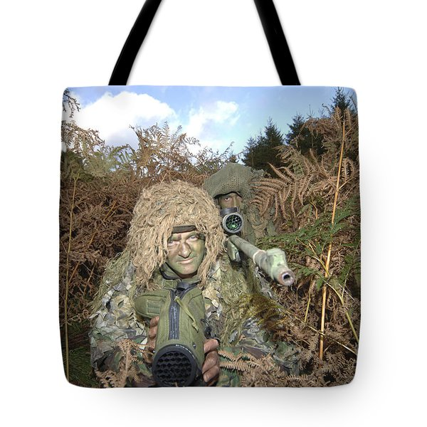 A British Army Sniper Team Dressed Tote Bag by Andrew Chittock