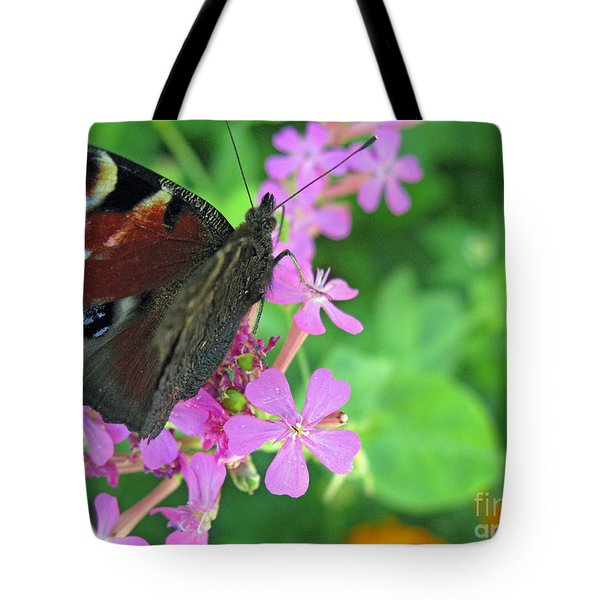 A Butterfly On The Pink Flower 2 Tote Bag by Ausra Huntington nee Paulauskaite