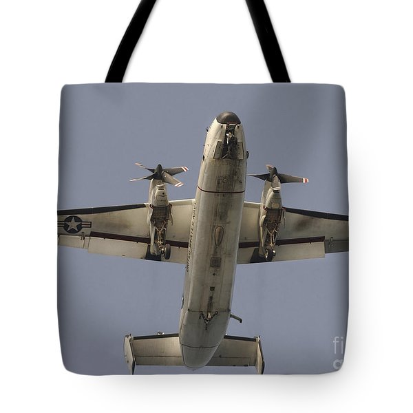 A C-2 Greyhound In Flight Tote Bag by Stocktrek Images