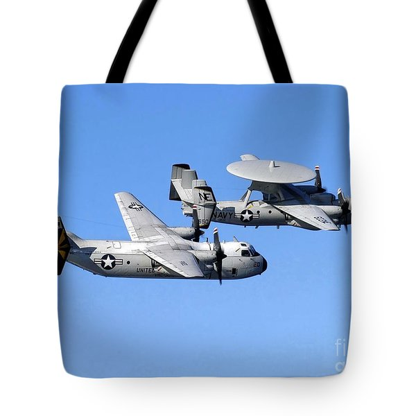 A C-2a Greyhound And A E-2c Hawkeye Tote Bag by Stocktrek Images