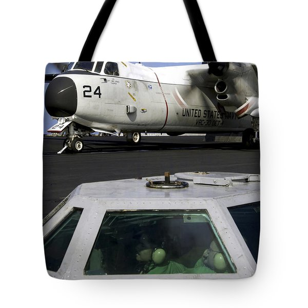 A C-2a Greyhound Prepares For Launch Tote Bag by Stocktrek Images