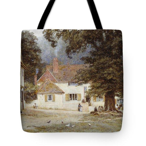 A Cart By A Village Inn Tote Bag by Helen Allingham