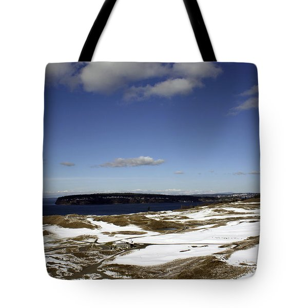 Tote Bag featuring the photograph A Chambers Bay Snow Day - Chambers Bay Golf Course by Chris Anderson