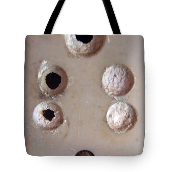 Tote Bag featuring the photograph A Clogged Up 5 Point Electric Plug Point by Ashish Agarwal