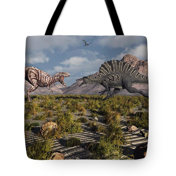 A Confrontation Between A T. Rex Tote Bag by Mark Stevenson