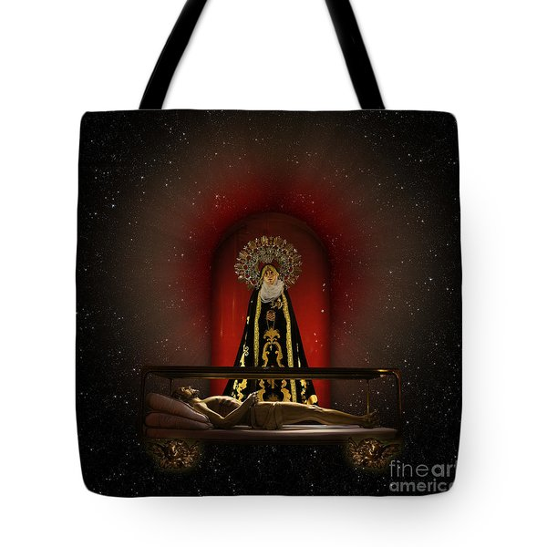 Tote Bag featuring the digital art A Cosmic Drama by Rosa Cobos